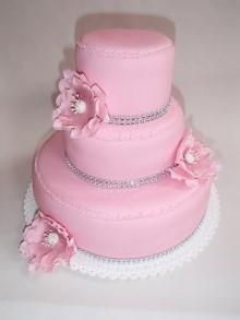 Třípatrový dort v marcipánu MINI