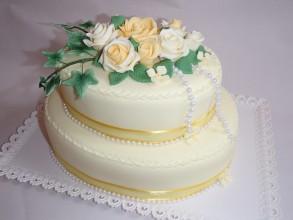 Patrový svatební dort v marcipánu MINI